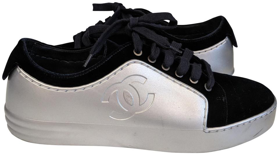a93e1e64406f Chanel Tennis Sneakers Leather Velvet Blue and Silver Athletic Image 0 ...