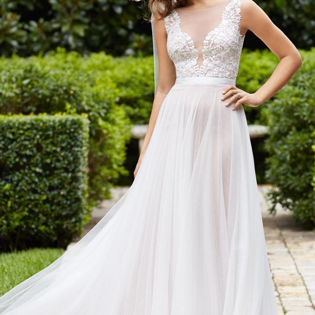 Wtoo Light Nude Illusion Tulle/ Ivory Dress/ Rosegold Lining/ Ivory Ribbon Lace and Soft Marnie 14715 Modern Wedding Dress Size 8 (M) Wtoo Light Nude Illusion Tulle/ Ivory Dress/ Rosegold Lining/ Ivory Ribbon Lace and Soft Marnie 14715 Modern Wedding Dress Size 8 (M) Image 1