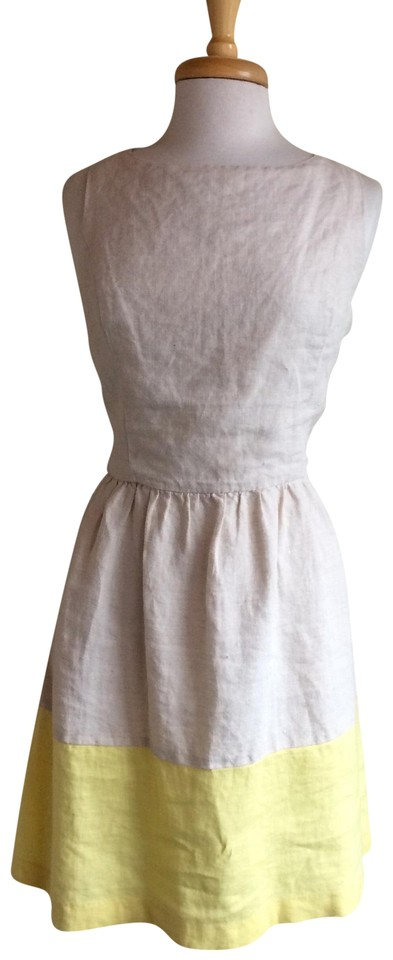 757cad95e6ed Kensie Tan and Yellow Linen Sleeveless Mid-length Short Casual Dress ...