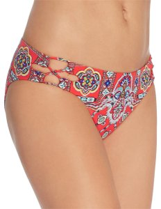 Nanette Lepore Pretty Tough Charmer Red Bikini Bottom Embellished Cutout