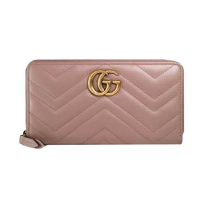 Gucci BRAND NEW w/ BOX ! GG Marmont Zip Around Wallet in nude pink