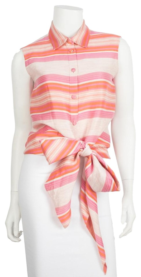 b0386309417fb9 Christian Siriano Pink Striped Sleeveless Blouse Size 6 (S) - Tradesy