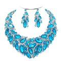 Other Aqua Blue Crystal Glass Marquise Petal Necklace And Earring Set Image 0