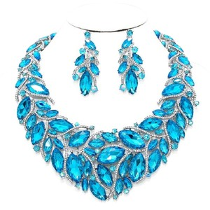 Other Aqua Blue Crystal Glass Marquise Petal Necklace And Earring Set
