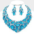 Other Aqua Blue Crystal Glass Marquise Petal Necklace And Earring Set Image 2