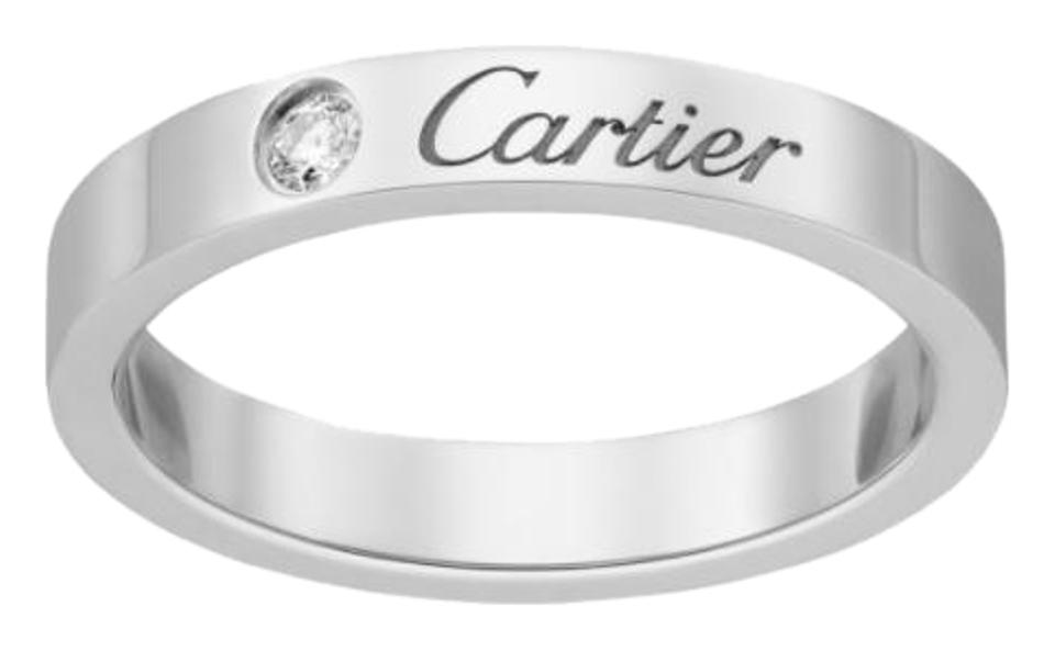 Cartier Platinum 3mm Engraved Wedding Band with One Diamond - Size 50 Ring