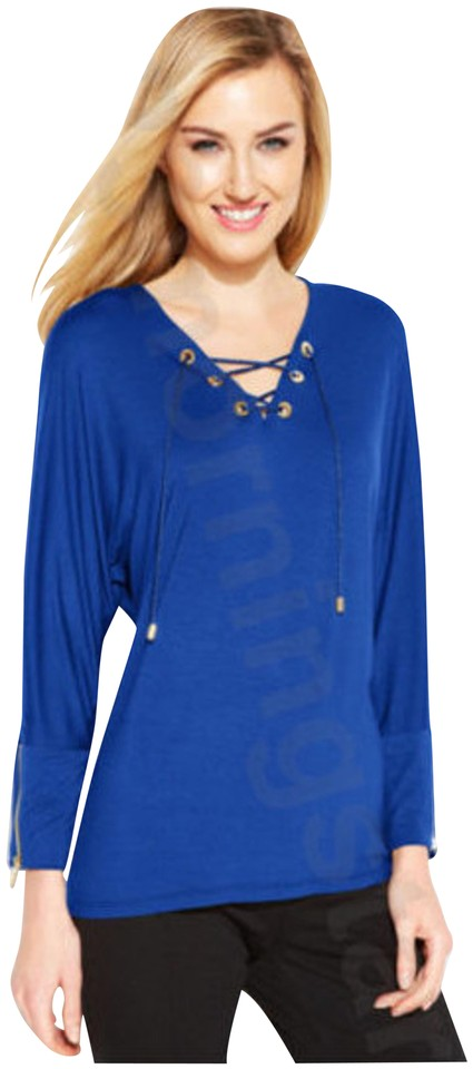 Calvin Klein Blue Silver Hardware Lace Up Dolman Sleeve Style No M4wh8083 Blouse Size 12 L