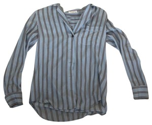 6556a30e7cea1 Equipment Button Down Shirt Blue Black White stripe