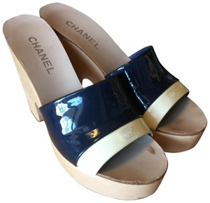294bc5216f5f Chanel Wood Cc Peep Toe Made In Italy Navy Patent and wedge platform  Platforms