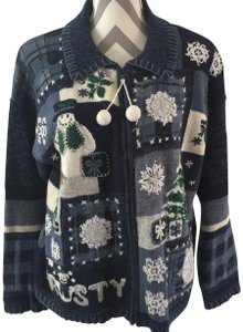 Tiara International Christmas Ugly Frosty Pom Poms Sweater