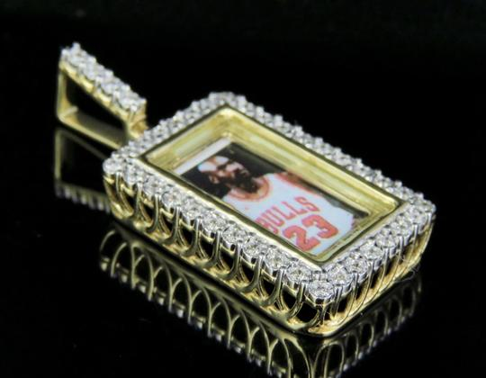 Jewelry Unlimited 10K Yellow Gold Real Diamond Memory Frame Photo Engrave Pendant 0.35CT Image 2