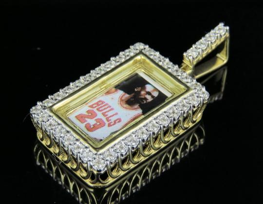 Jewelry Unlimited 10K Yellow Gold Real Diamond Memory Frame Photo Engrave Pendant 0.35CT Image 5