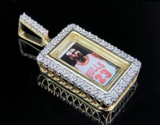 Jewelry Unlimited 10K Yellow Gold Real Diamond Memory Frame Photo Engrave Pendant 0.35CT Image 6