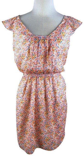 Preload https://img-static.tradesy.com/item/23198312/chelsea-and-violet-peach-floral-sun-mid-length-short-casual-dress-size-4-s-0-1-650-650.jpg