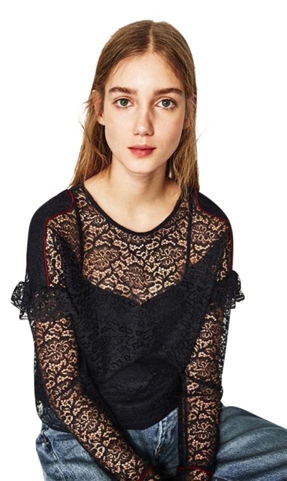 a3b8f5a36 Zara Black Lace Double Shirt Long Sleeves Red Piping New Blouse Size ...