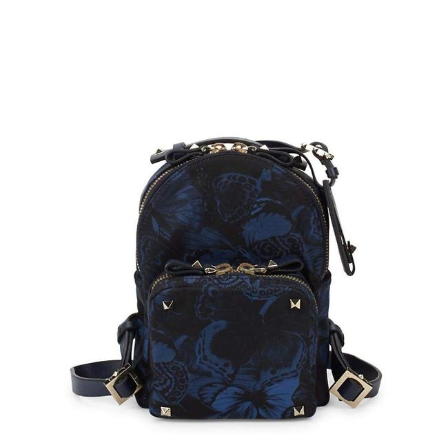Item - Butterfly Zip Navy Synthetic with Leather Backpack