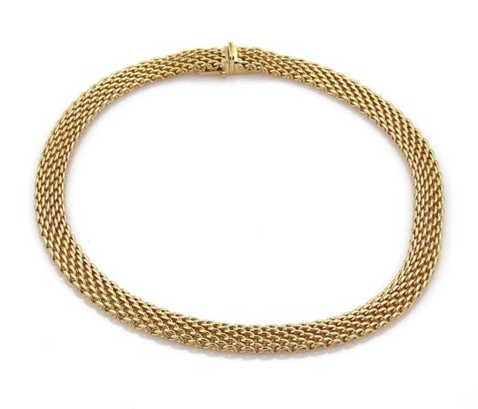 Tiffany & Co. 18k Yellow Gold 10mm Wide Mesh Design Collar Necklace Image 1