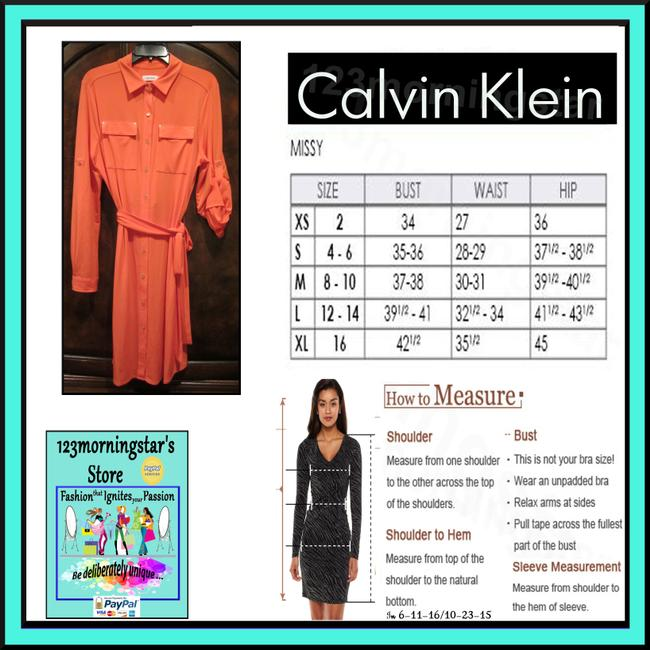 Calvin Klein Chest Flap Pockets Pleated Yoke Back Tab Roll-up Sleeves Sash Tie Shirt Pointed Collar Dress Image 11