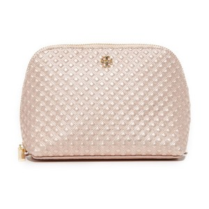 Tory Burch Marion Metallic Cosmetic Case