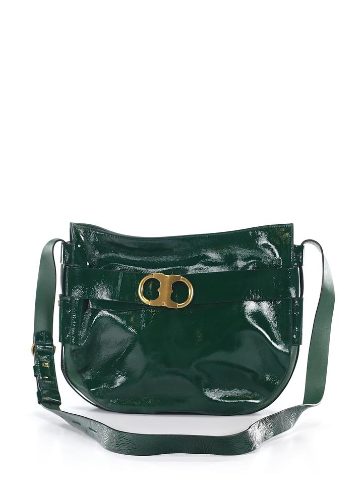 87809e18147 Tory Burch Gemini Link Patent Gree Leather Cross Body Bag 72% off retail