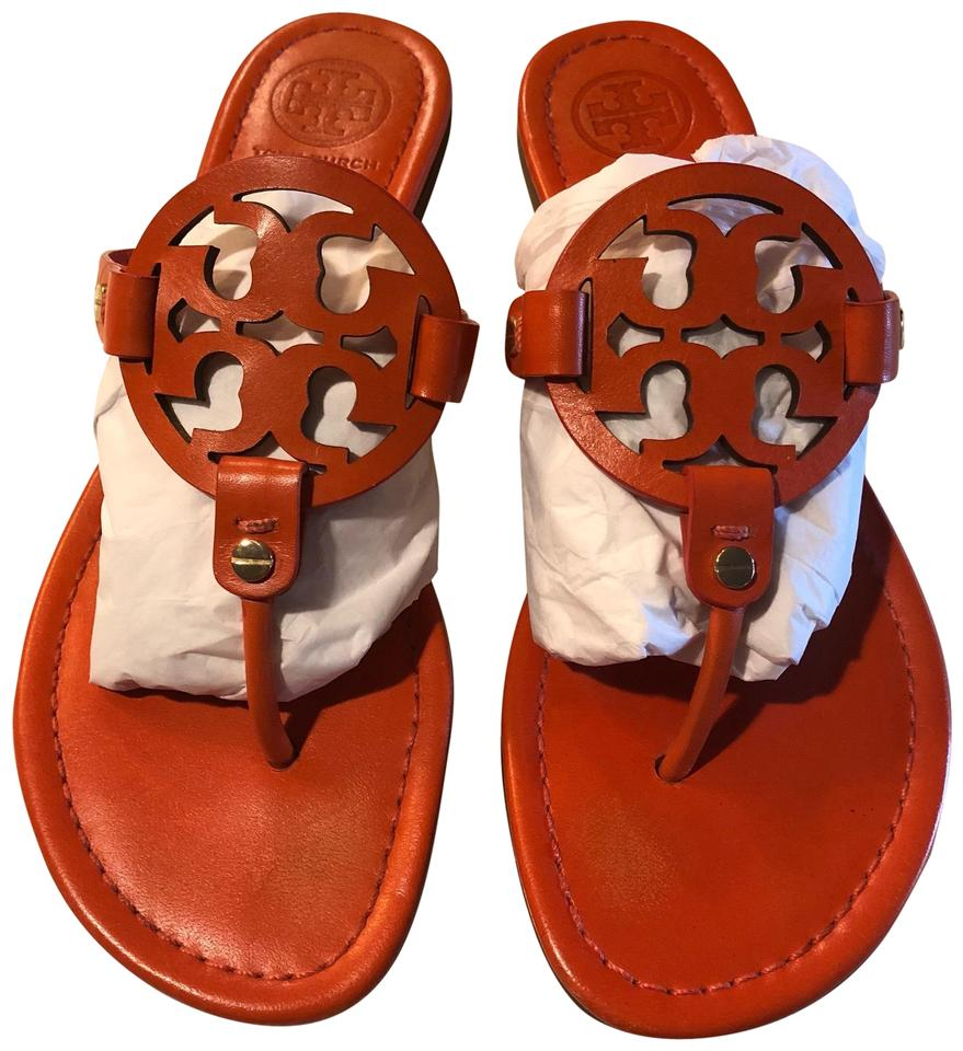 3abbb4dbda4d Tory Burch Mandarin Orange Miller Leather 81 2 Sandals. Size  US 8.5 Regular  (M ...