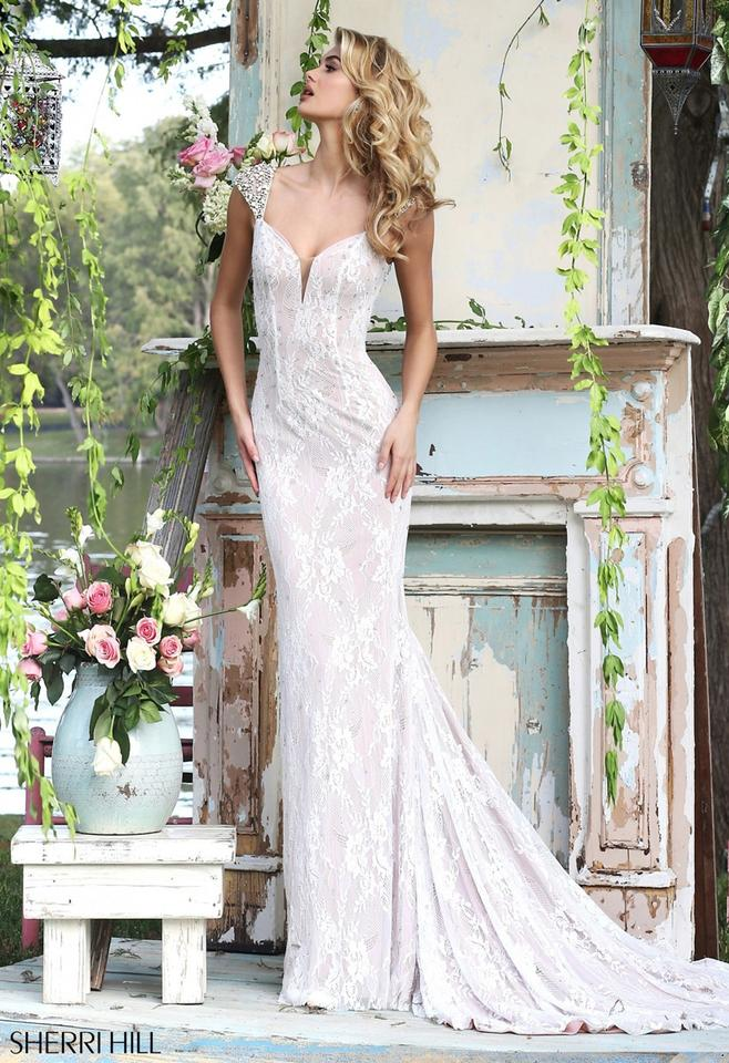 fe9a28f4c2 Sherri Hill Ivory Nude Lace 50048 Sexy Wedding Dress Size 6 (S) Image ...