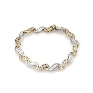 Other Estate 5.60ct Diamonds 14k Gold Curved Channel S Link Bracelet