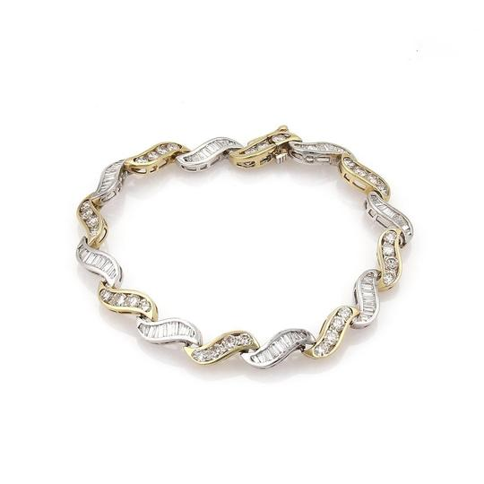 Other Estate 5.60ct Diamonds 14k Gold Curved Channel S Link Bracelet Image 0