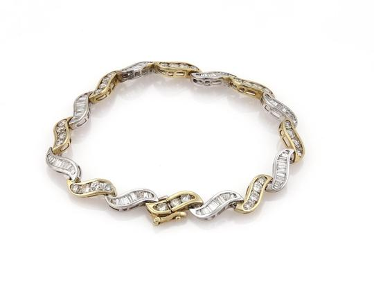 Other Estate 5.60ct Diamonds 14k Gold Curved Channel S Link Bracelet Image 2