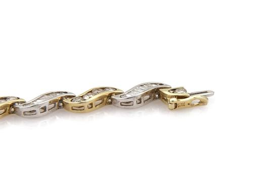 Other Estate 5.60ct Diamonds 14k Gold Curved Channel S Link Bracelet Image 3