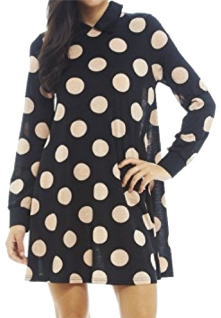 Item - Black and Blush Long Sleeve Spot Swing Short Night Out Dress Size 6 (S)