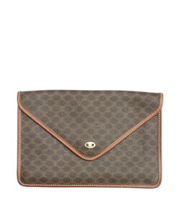 Céline Coated Canvas Brown Clutch