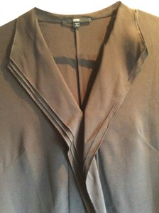 Hugo Boss Black Label Top Brown Silk Button Front Pleats Blouse