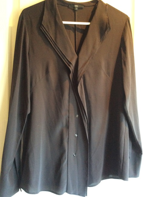 Hugo Boss Black Label Top Brown Silk Button Front Pleats Blouse Image 3