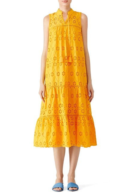 Item - Yellow Eyelet Embroidere Patio Midi Long Casual Maxi Dress Size 8 (M)