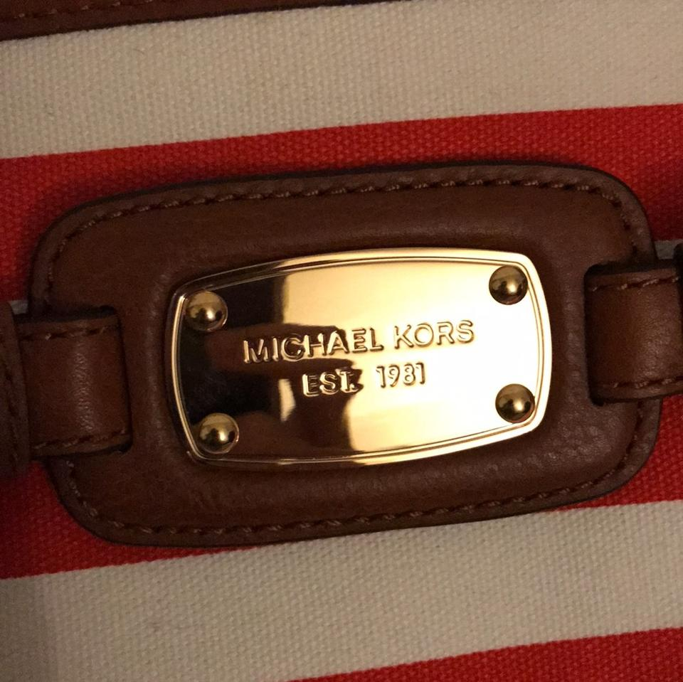 9d8f8afca50405 Michael Kors Striped Hamilton Red and White Leather Satchel - Tradesy