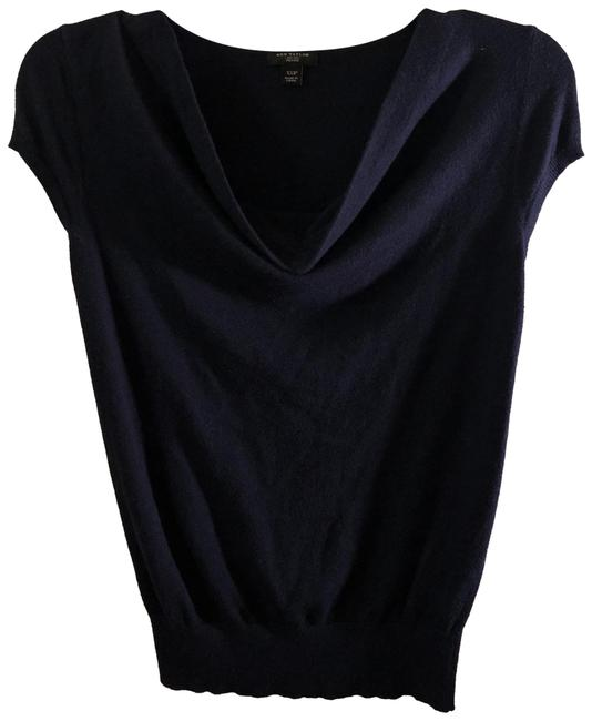 Preload https://img-static.tradesy.com/item/23198750/ann-taylor-navy-blue-cowl-neck-tunic-size-petite-2-xs-0-1-650-650.jpg