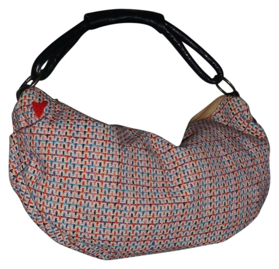 T Bags Los Angeles Ruched Tweed Mini Crescent Multicolor Textile Leather Handle Hobo Bag