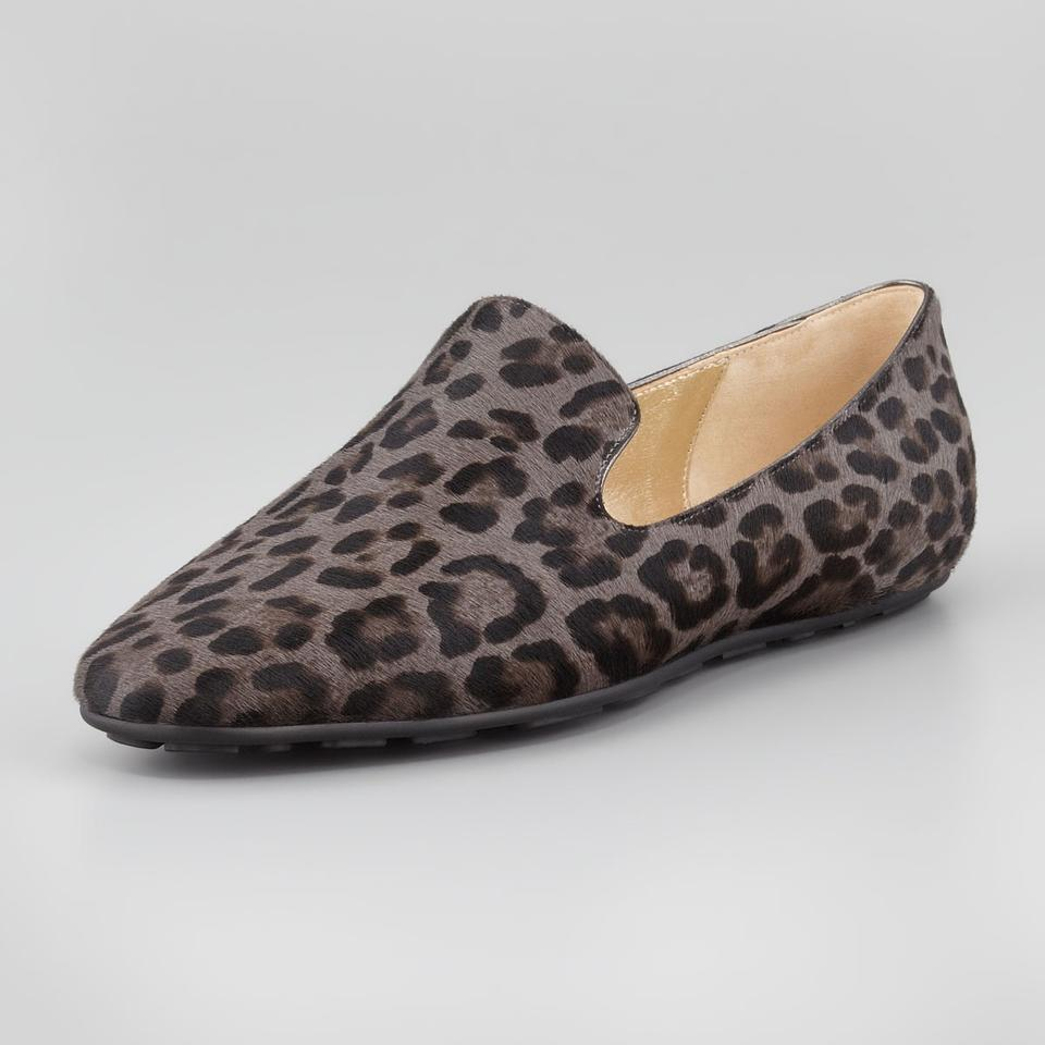 1715eb6a44f Jimmy Choo Brown Dark Grey Black Wheel Leopard Print Calf Hair Loafers Flats