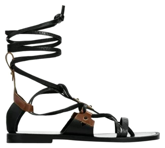 Item - Black Leather Fringed Flat Lace Up Sandals Size US 6 Regular (M, B)