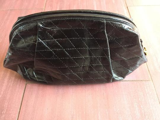 Furla Quilted Leather Cosmetic Vintage black Clutch Image 3