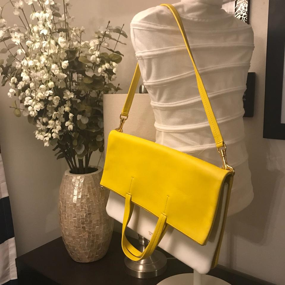 12f0895358 Céline Cabas Foldover Clutch Yellow and White Leather Tote - Tradesy