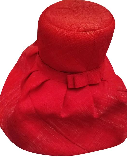 Red Straw Tall with Wide Brim and Bow Hat Red Straw Tall with Wide Brim and Bow Hat Image 1