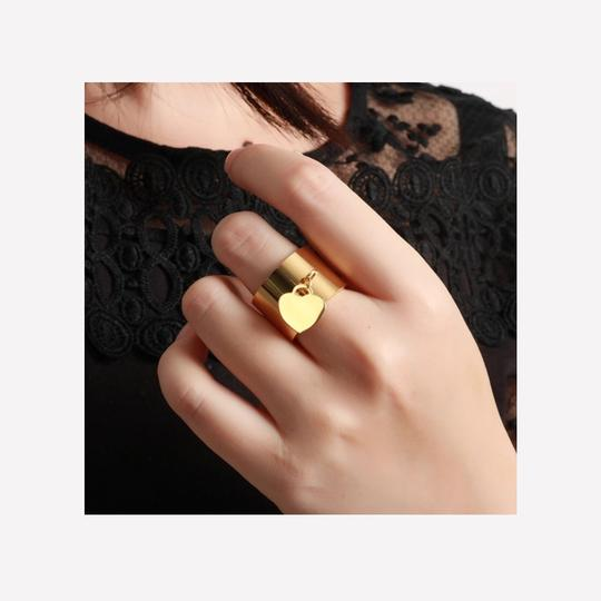 Other Gold Stainless Steel Luxury Femme Love Heart Tag Charm Ring Image 1