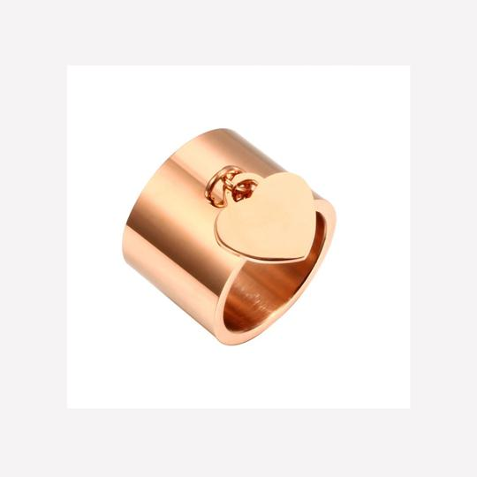 Other Gold Stainless Steel Luxury Femme Love Heart Tag Charm Ring Image 3
