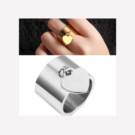 Other Gold Stainless Steel Luxury Femme Love Heart Tag Charm Ring Image 4