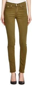 MICHAEL Michael Kors Fit 98% Cotton Traditional Style Bronze Hardware Plate Skinny Jeans-Dark Rinse