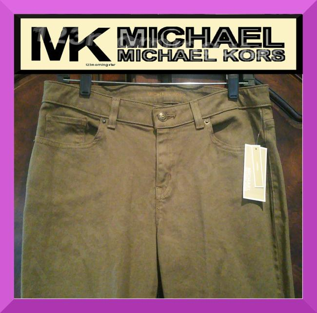 MICHAEL Michael Kors Fit 98% Cotton Traditional Style Bronze Hardware Plate Skinny Jeans-Dark Rinse Image 2