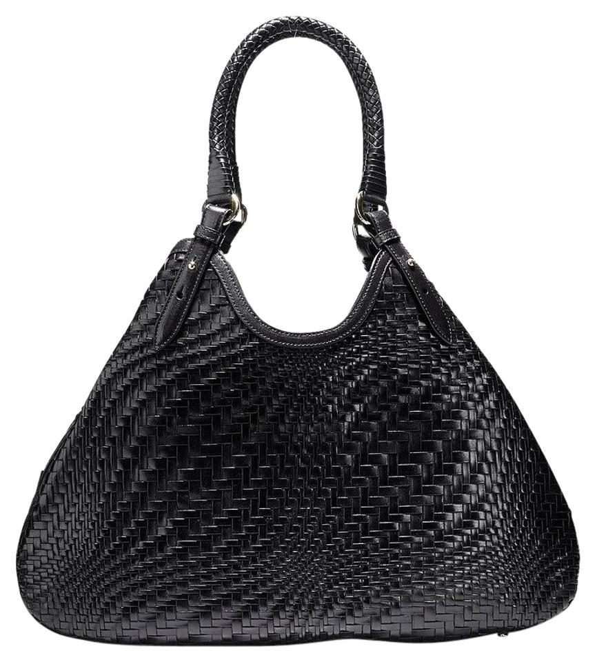 cc580cbd5309 Cole Haan New Extra Large Genevieve Weave Large Triangle Black Leather Tote