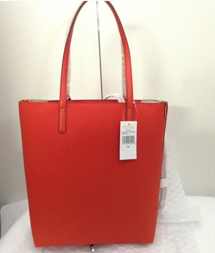 808199caabc4 Michael Kors Hayley Large Convertible Tote Red Coated Canvas Shoulder Bag